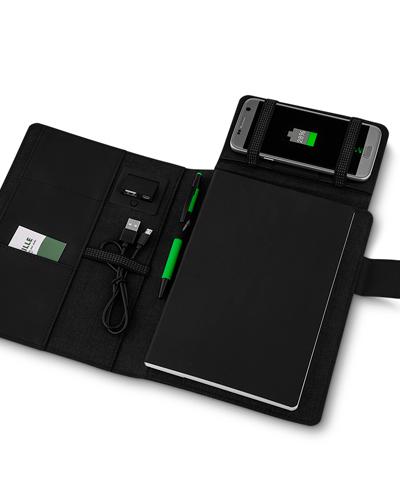 Brindes Personalizados -  Capa para Caderno com Powerbank Personalizada