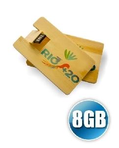 Brindes Personalizados -  Pen Card 8gb Madeira Personalizado