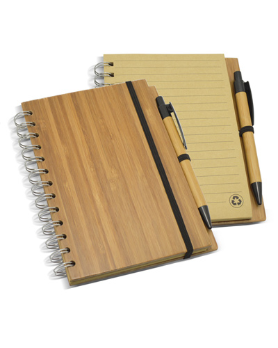 Brindes Personalizados -  Bloco de Anotações com Capa de Bambu