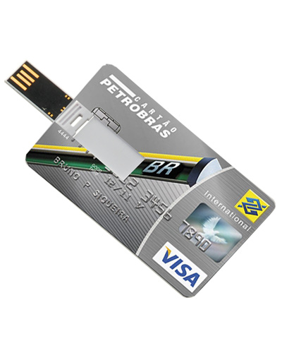 Brindes Personalizados -  Cartão pen drive com 4 GB Personalizado
