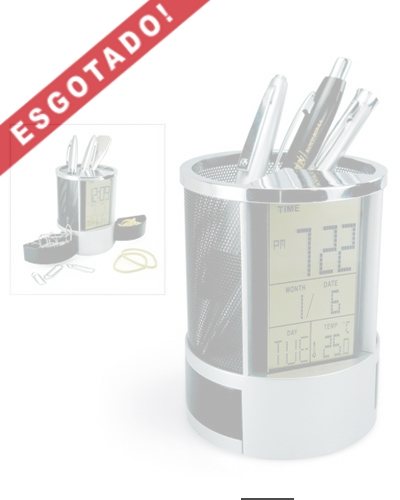 Brindes Personalizados -  Porta Canetas com Relógio Digital e Porta Clips